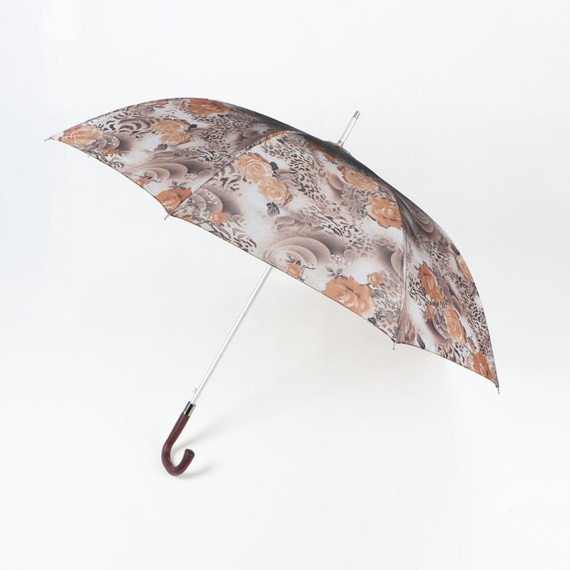 Plastic J Handle Curved Handle Umbrella Rainproof Rose Printing Aluminum Pole