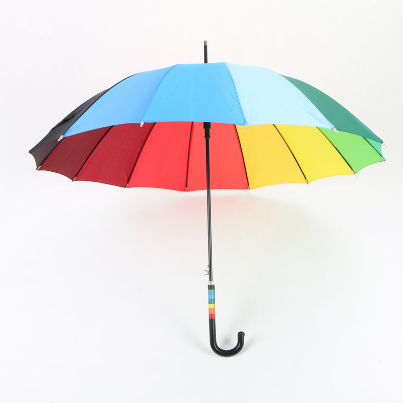 23 Inch Rainbow Golf Umbrella , Automatic Open compact Umbrella With Hook Handle