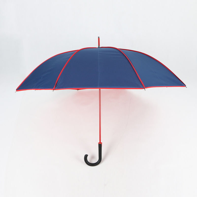 Red And Blue Curved Handle Umbrella With Carrying Bag Navy 190T Pongee