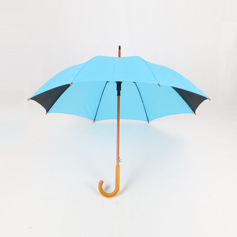 Promotional Events Cool Golf Umbrella , Wooden Stick Umbrella With Logo Printing
