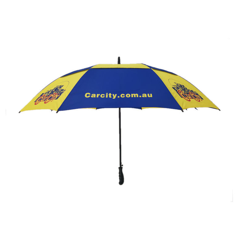 30 Inch Air Vent Double Canopy Golf Umbrella Windproof With Full Silk Screen Print