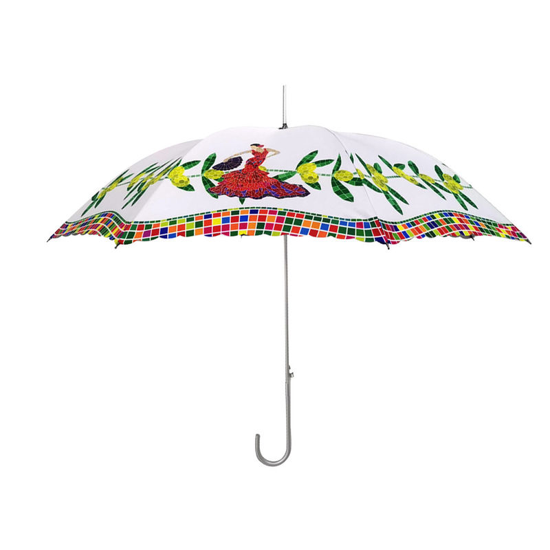 Automatic Open Lady Straight Umbrella Inside With Silver Coating Flower Print