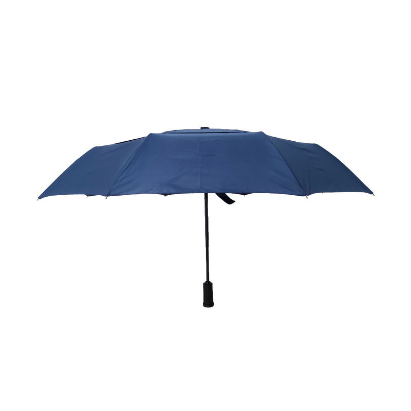 Vented Canopy 3 Folding Umbrella Windproof LED Handle And Fiberglass Frame